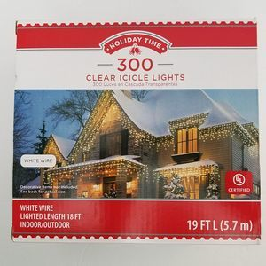 Holiday Time 300 Clear Icycle Lights White Wire